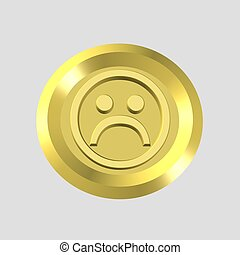 3d gold frown face icon - computer generated