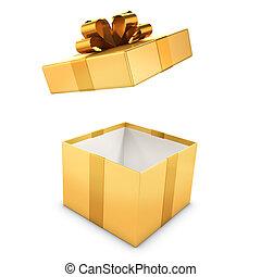 3d Gold gift box opens - 3d render of a golden gift box...