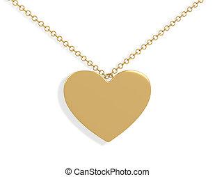 3d gold heart