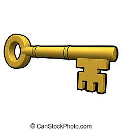 3d Gold key