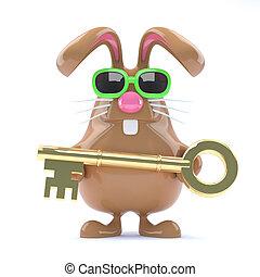 3d Gold key bunny - 3d render of a rabbit holding a golden...