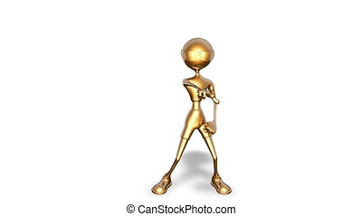 3D Gold Man Dance - Looped on White
