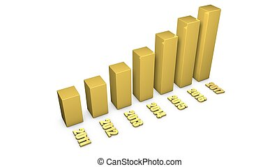 3d gold material growing business chart