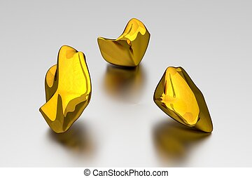 3D Gold Nuggets - Concept - Grey Background