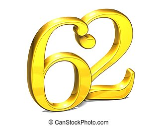 3D Gold Number sixty-two on white background