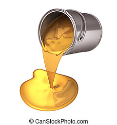 3d gold paint pour from can - 3d render illustration paint...