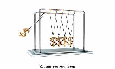 3D gold pendulum newton dollars
