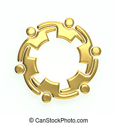 3D gold people logo