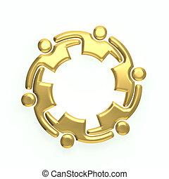 3D gold people logo