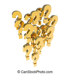 3d Gold question mark group