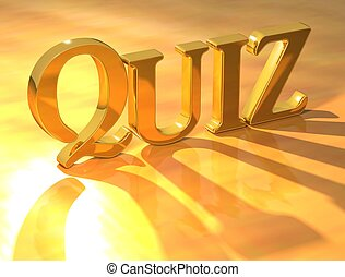 3D Gold Quiz text on yellow background