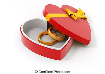 3d gold ring in a heart shape case