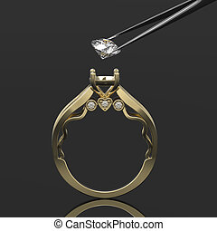 3d gold ring with diamond in tweeze