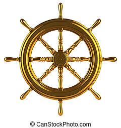 3d Gold ships wheel