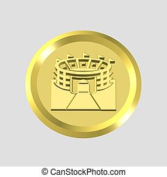 gold stadium icon - 3d gold stadium icon - computer...