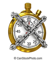 3d Gold stopwatch bound by chains