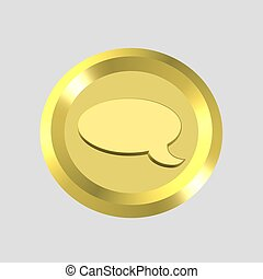 talk left icon - 3d gold talk left icon - computer generated