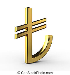 3D Gold TL Symbol (Turkish Liras) isolated