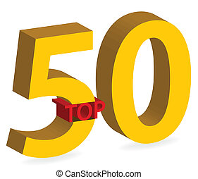 3d gold top 50 symbol isolated - illustration of gold top 50...