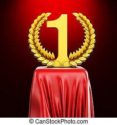 3d gold trophy on red silk pedestal