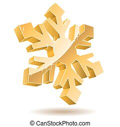 3D gold vector snowflake isolated on white background.
