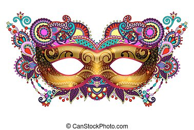 3d gold venetian carnival mask silhouette with ornamental...