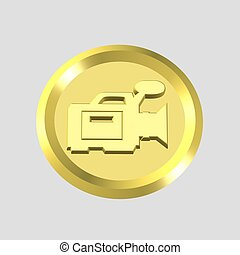 video icon - 3d gold video icon - computer generated