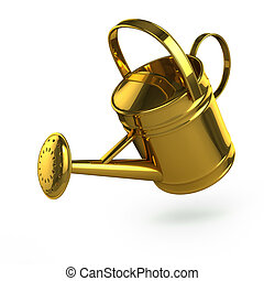 3d Gold watering can - 3d render of a gold watering can