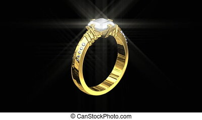 3D jewelry, wedding gold ring with white diamonds, sparkling seamless HD