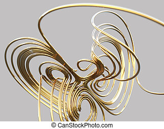 3d gold wire mathematical knot against gray background, 3d ...