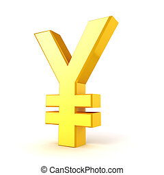 3d gold yuan currency symbol on white background