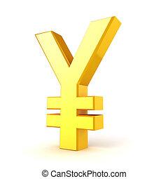 3d, gold, yuan, währungszeichen, auf, whi