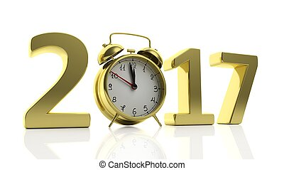 """3D golden 2017  with alarm clock as """"0"""", isolated on white background."""