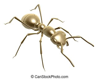 golden ant - 3d golden ant isolated on white background