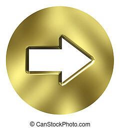 3D Golden Arrow Button