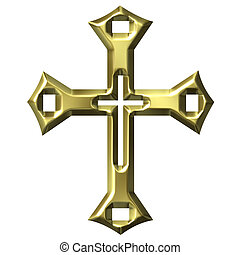 3D Golden Artistic Cross