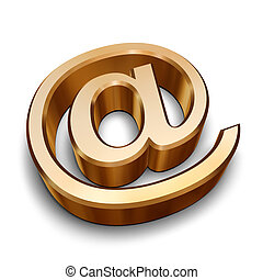 3D golden AT symbol - A golden AT symbol isolated on a white...