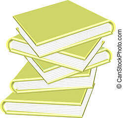 3d golden books stacked isolated