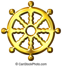 3d golden Buddhism symbol Wheel of Dharma isolated in white. Represents Buddha's teaching of the path to enlightenment,