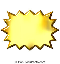 3D Golden Burst - 3d golden burst isolated in white