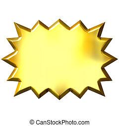 3d golden burst isolated in white