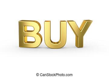 3D golden BUY word on white