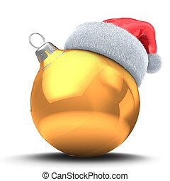 3d golden Christmas ball