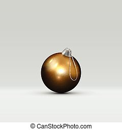 3d golden Christmas Ball on a light abstract background. Realistic Gold Xmas design element.