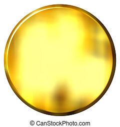 3D Golden Circular Button