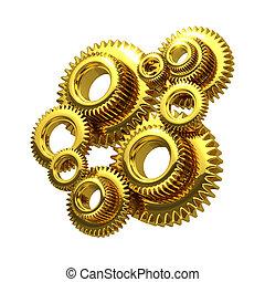 3d Golden cogs