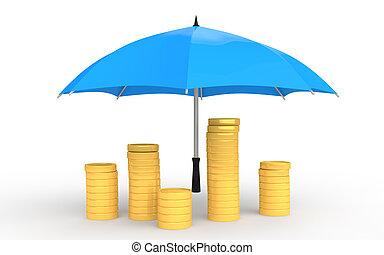 3d golden coins under umbrella