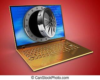 3d golden computer and opened vault door