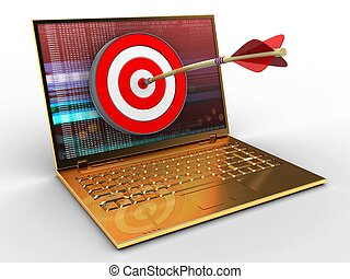 3d golden computer and target