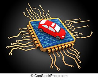 3d golden computer processor - 3d illustration of golden...